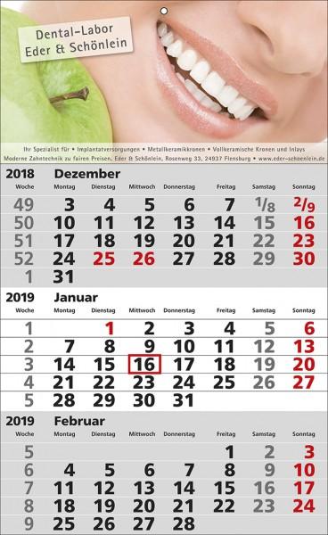 3 Monats-Wandkalender